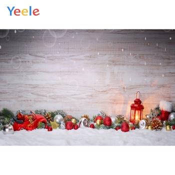 Yeele Christmas Party Backdrops for Photophone Wooden Board Snow Balls Latern Newborn Baby Backgrounds Photocall For Photo Shoot image