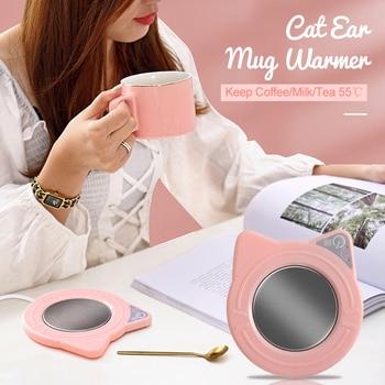 Cute Mug Warmer Mug Cat Ear Shape Heating Coaster Coffee Cup Warmer Keep Coffee Milk Tea 55 Degrees Centigrade Gifts for Girls 1