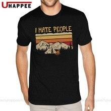 Camiseta de natal de montanha de acampamento eu odeio pessoas para homem personalizado manga curta branco tripulação pescoço t
