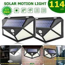 1000 lumens 114 LED Solar Light Outdoor Lighting 2400mah battery Wide-angle Security Motion sensor Wall Yard Garden Solar Lamp
