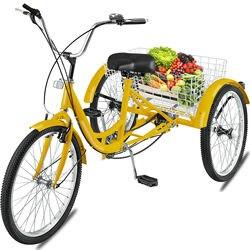 24 Adult Tricycle 3-Wheel 7 Speed Bicycle Trike Bike Backrest Cruiser Basket