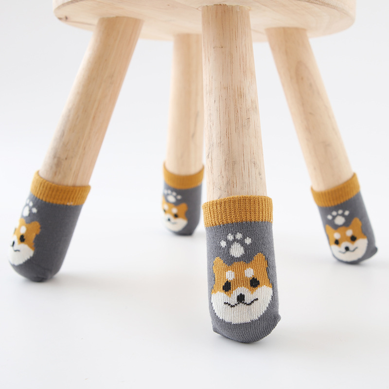 4PCS Knitted Anti-slip Non-slip Table And Chair Leg Cover Cartoon Simple Chair Cover Table Leg Protection Cover