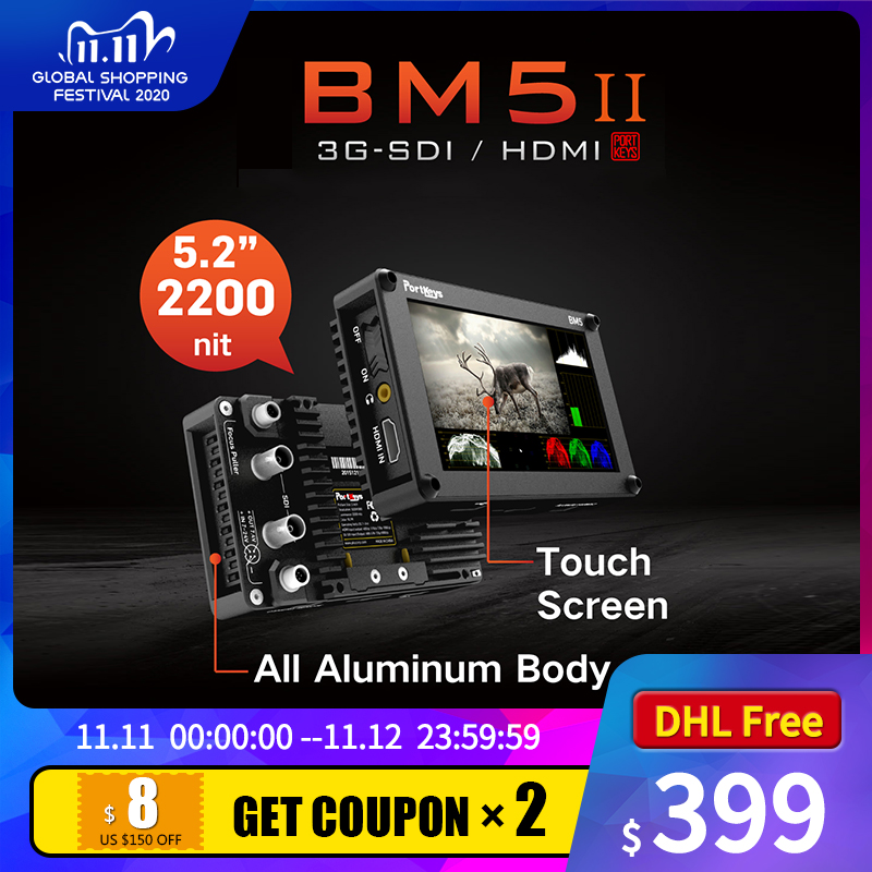 Portkeys BM5 II 2200nit 3G SDI/HDMI Cámara superbrillante Control pantalla táctil FHD en Monitor de cámara