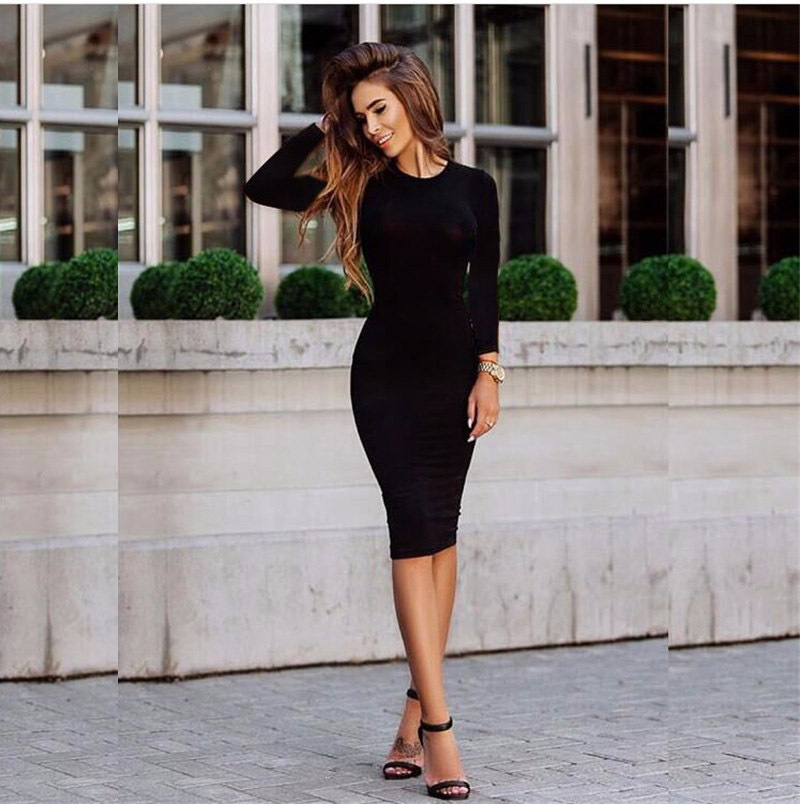Autumn Women Long Sleeve Dress Bodycon Sexy Slim Fit O-neck Casual Black Dress Midi Dress Office Lady OL Clothes