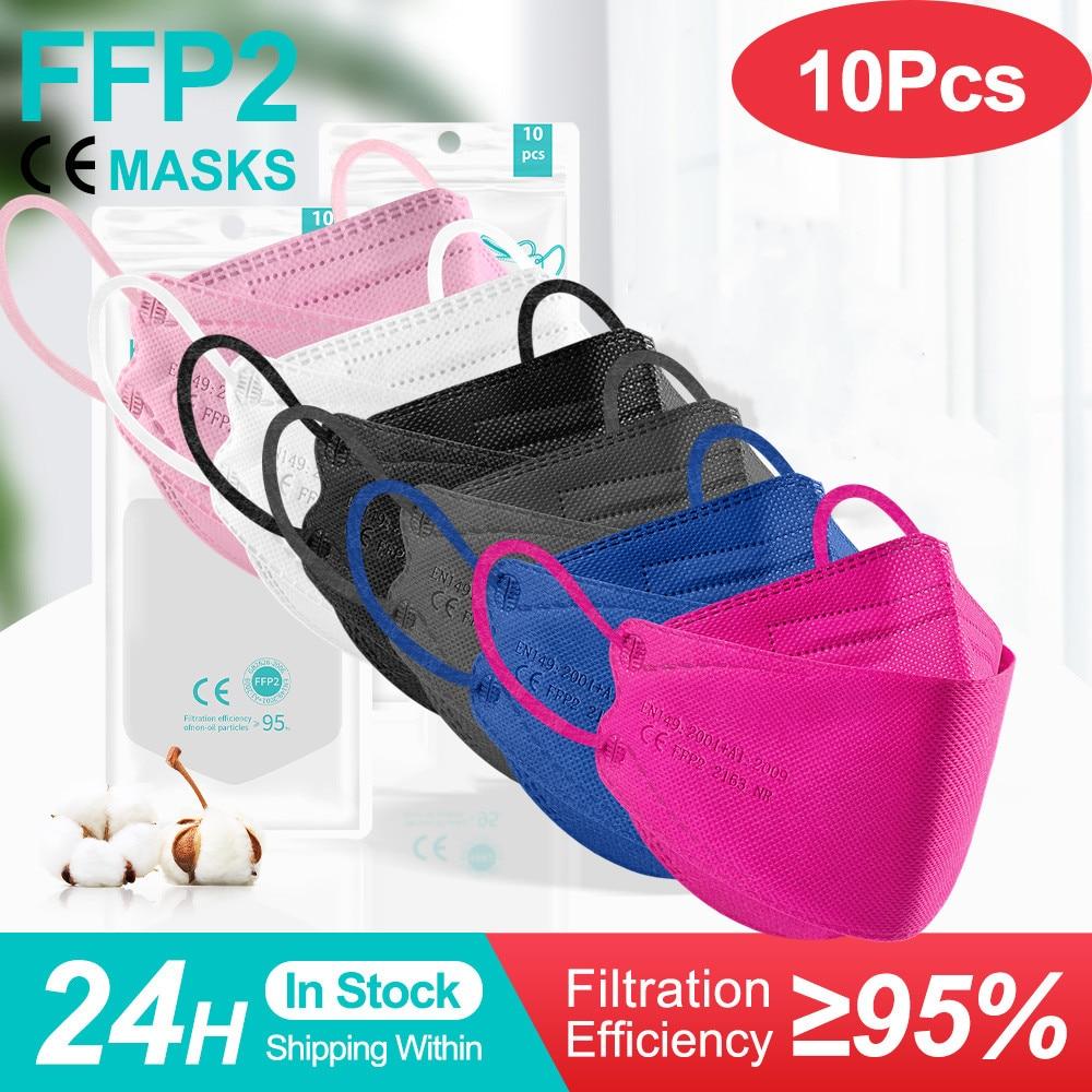 FFP2Mask рыбы одобренный Colores KN95 уход за кожей лица маска респиратор Безопасность защитный KN95 рыбы маски 4 слоев mascarillas fpp2reutilizable