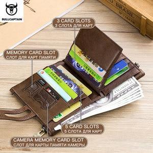 Image 3 - BULLCAPTAIN אמיתי עור RFID גברים ארנק אשראי עסקי כרטיס מחזיקי כפול רוכסן עור פרה עור ארנק ארנק Carteira 021
