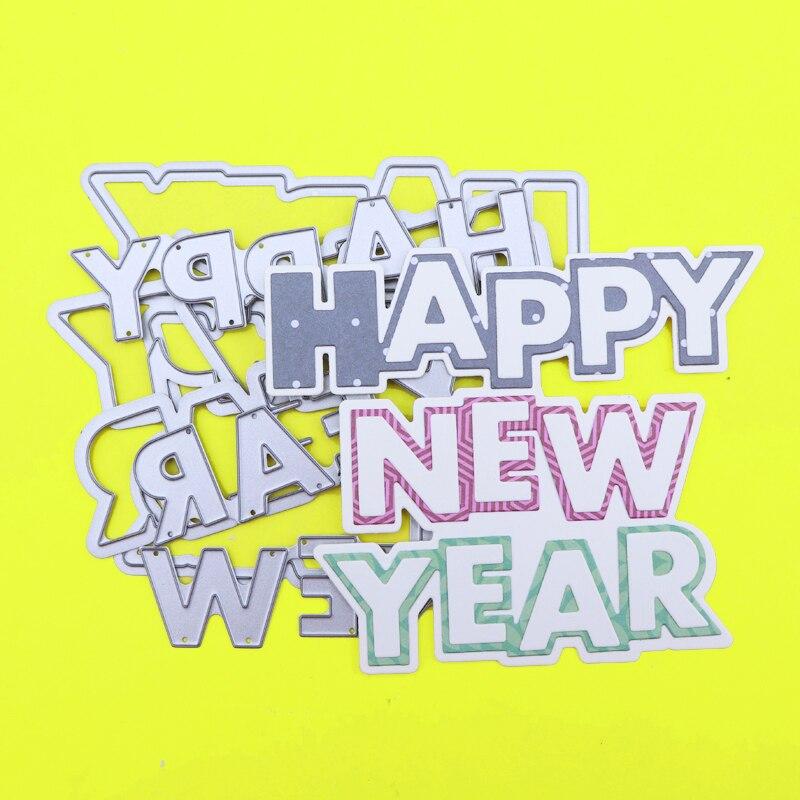 Резные штампы с новым годом слово Скрапбукинг оформление открыток Бумага Ремесло Сделай Сам металлический трафарет сюрприз создание