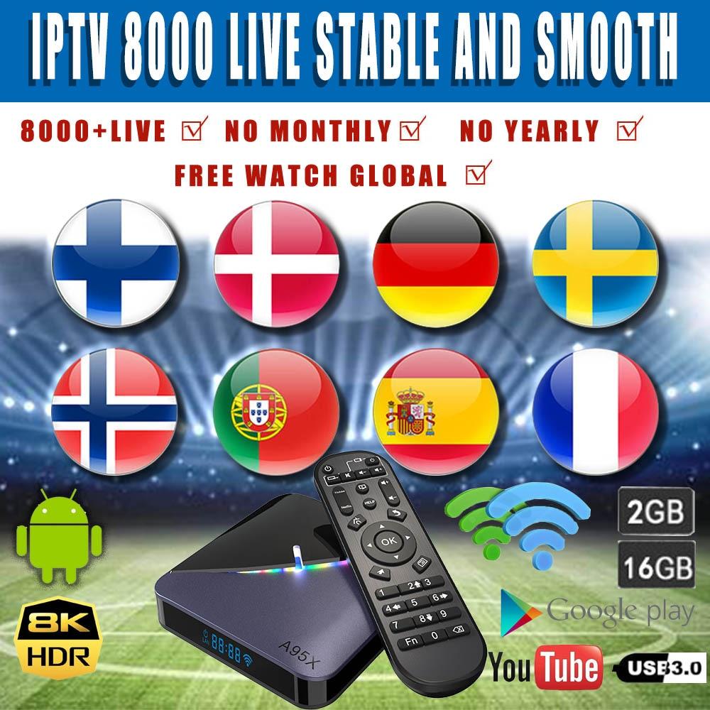 Android 9.0 Tv Box World IPTV 7500 Live A95X F3 RGB LIGHT Support Plex Media Server WIFI Dual Network 2.5/5G 2GB Set Top Tv Box