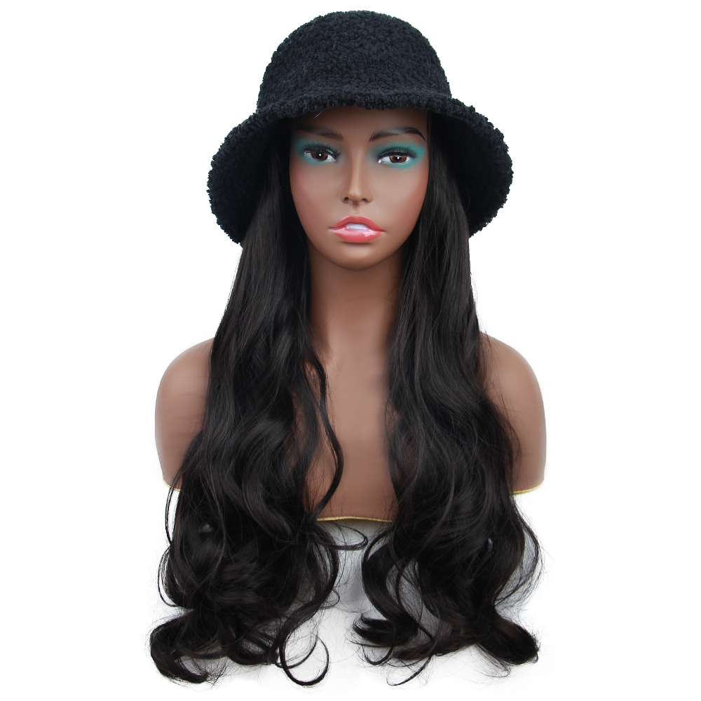 Long Wavy Fisherman Hat Wool Wig Winter Warm Cap Synthetic Hair With Knitted Cap Wig All-in-one Wig Hat Bonnet For Girl Shopping