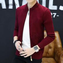 Genuo New 2020 Brand-Clothing Spring Cardigan Male Fashion Quality Cotton Sweater Men Casual Gray Redwine Mens Sweaters Cardigan