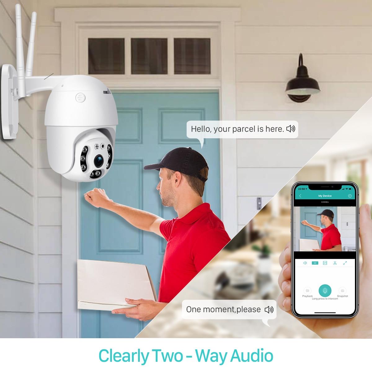 Hd81f00422edd405ebeda0f6e49281098E BESDER 1080P Outdoor Speed Dome Wifi Camera 2MP H.265 Audio PTZ Wireless Camera Cloud-SD Slot ONVIF Home Surveillance IP Camera