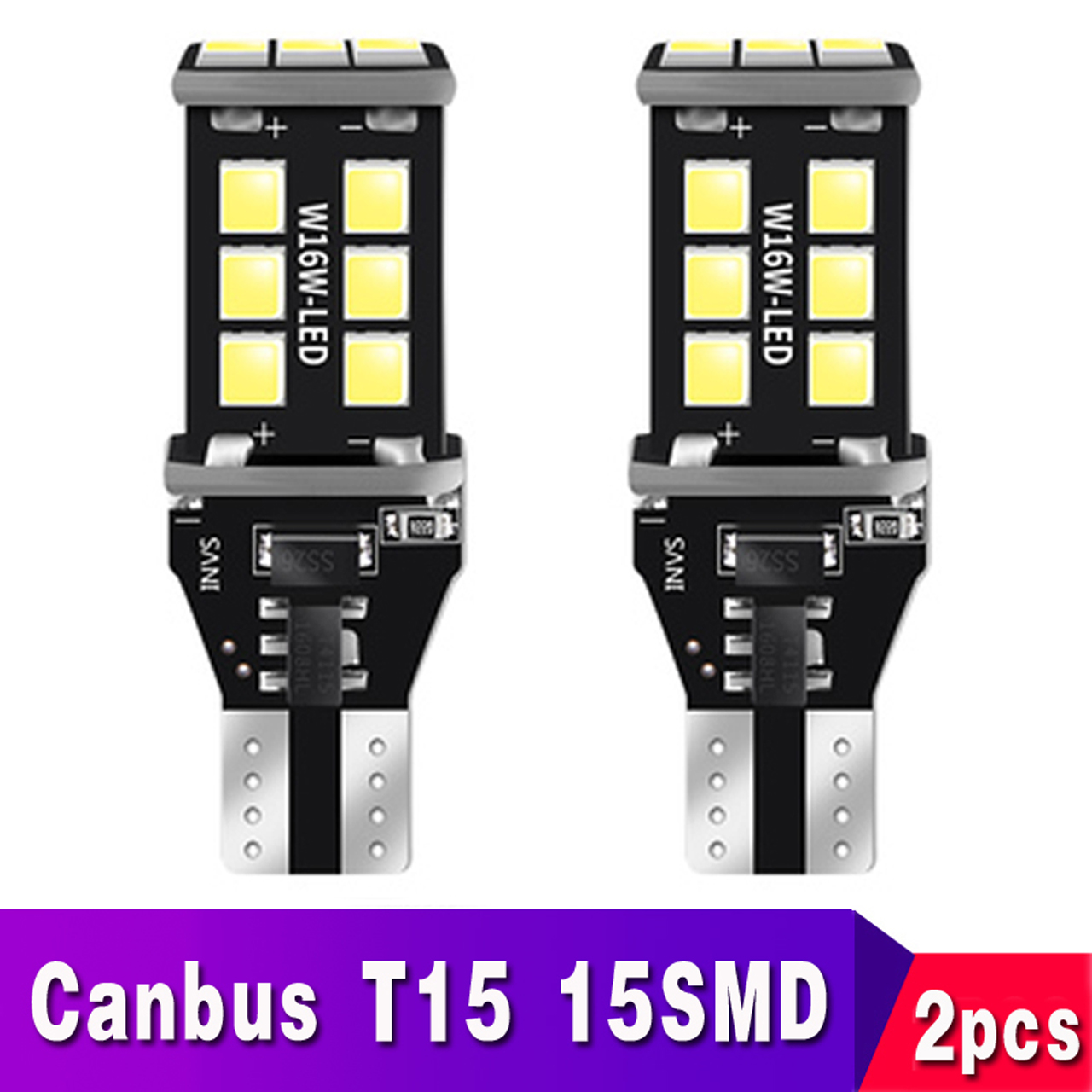 2pcs T15 T16 W16W 921 912 LED Super Bright 15SMD Canbus No OBC Error Car Backup Reserve Lights Bulb Reverse Lamp White Red Amber