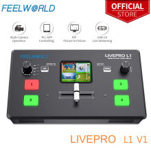 Feelworld livepro l1 v1 multi formato misturador de vídeo switcher 4xhdmi entradas câmera produção usb3.0 streaming ao vivo youtube