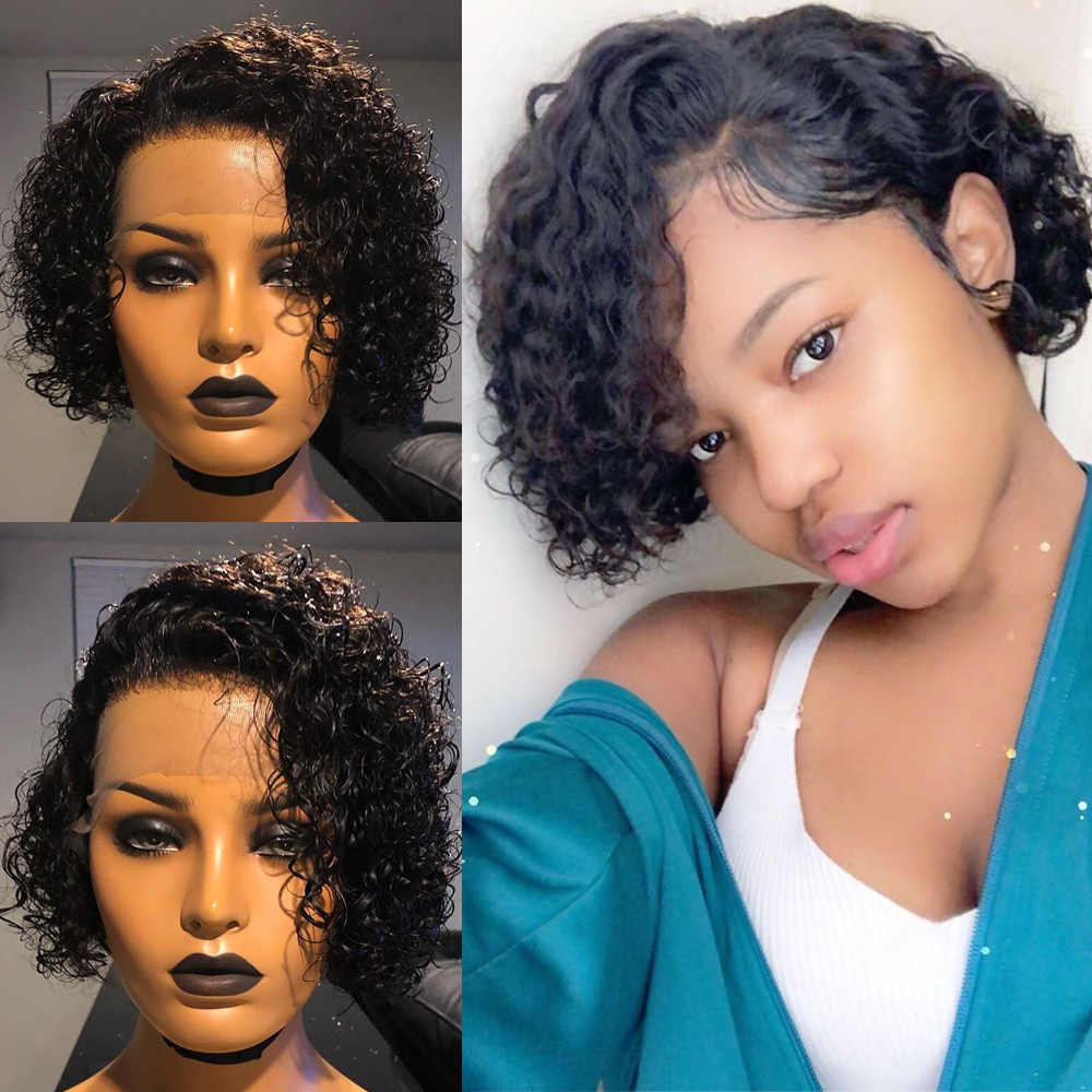 Short Blunt Cut Deep Part 13x6 Invisible Lace Front Curly Bob Human Hair Wig Indian Remy Preplucked And Bleached Knots Closure