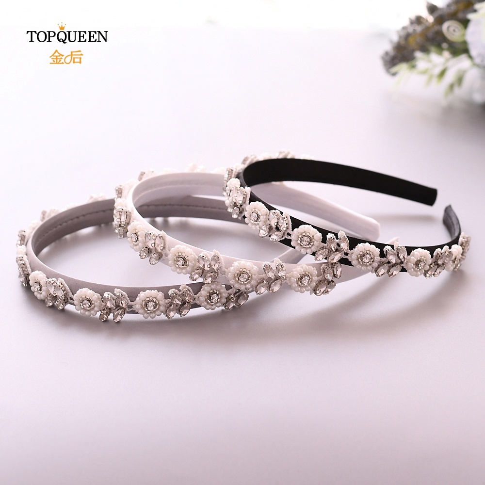 TOPQUEEN S101-FG Handmade Wedding Headbandflower Pearl Baroque Jeweled  Pearls And Diamonds Hair Accessories For Bridal Party