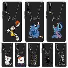 Cute Cat Custom Name DIY Black Soft TPU Silicone Case Cover For Huawei P8 P9 P10 P20 P30 Lite Pro P Smart Plus 2017 2019