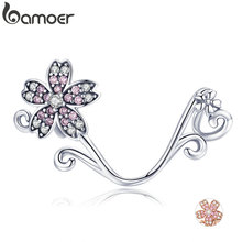 BAMOER Hot Sale Authentic 925 Sterling Silver Sakura Cherry Flower Pendant Charms Fit Original Bracelets Jewelry Making SCC1033
