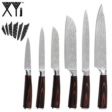 Xyj 6 Pcs Rvs Messen Set Damascus Patroon Blade 7CR17 Houten Handvat Chef Snijden Santoku Utility Paring Mes Schede(China)