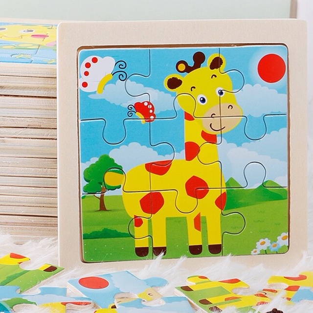 Mini Size 11*11CM Kids Toy Wood Puzzle Wooden 3D Puzzle Jigsaw for Children Baby Cartoon Animal/Traffic Puzzles Educational Toy 3