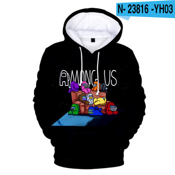 New Autumn Winter Tops Funny Print Among Us Hoodie Cartoon 3D Printed Pullover Sweatshirt Adult Harajuku Anime Pullover 24