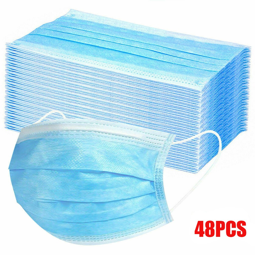 48 PCS Disposable Face Masks Blue Mask 3-layer Mouth Face Masks Non-woven Anti-Dust Ear Loops Protective Respirators Face Mask