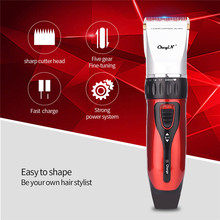 Professional Hair Trimmer Hair Clipper Rechargeable Ceramic Blade Hair Cutting Electric Shaver for Men Beard with 4 Limit Combs
