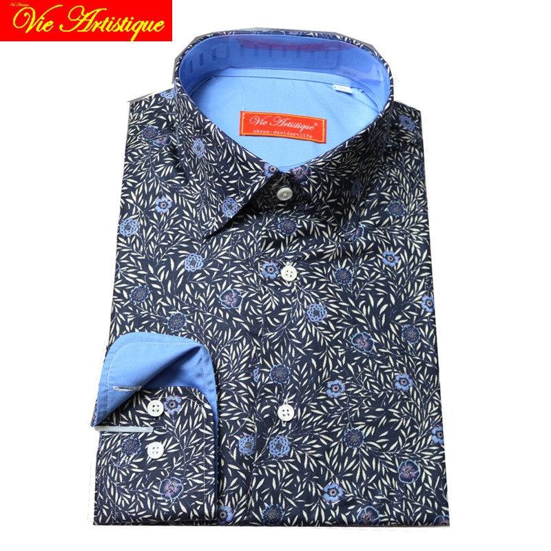Custom Tailor Made Women Men's Bespoke Cotton Floral Shirts Business Formal Wedding Ware Blouse Dark Navy Blue Flower Fashion