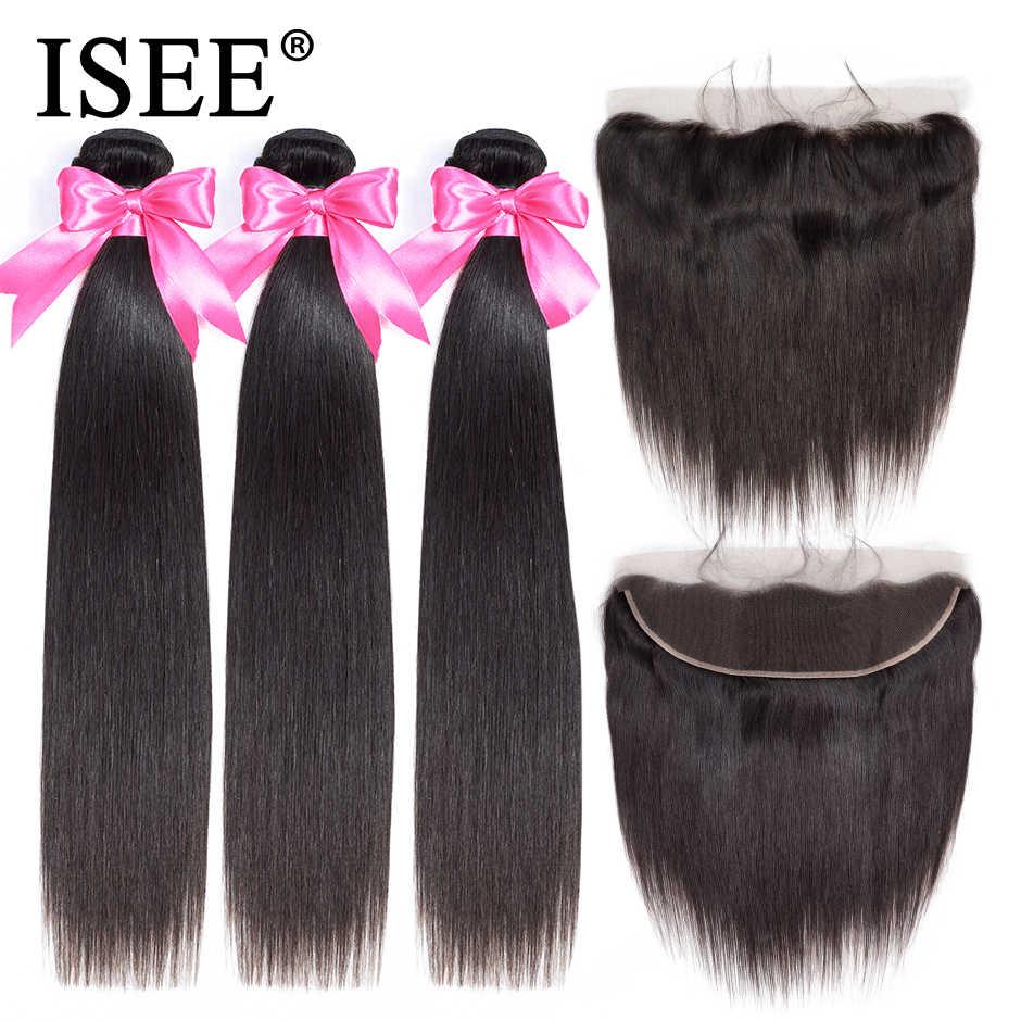 Paquetes de pelo lacio brasileño ISEE con encaje Frontal 13*4 con paquetes de cabello humano Remy con frontal