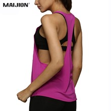 MAIJION Sleeveless Racerback Yoga Vest Sexy Backless Fitness Sport Tank Tops Quick Dry Loose Gym Running Training Yoga Shirts(China)