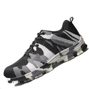 Image 5 - Sapatas de trabalho pretas com sapatas de construção de toecap de aço botas de segurança reflexivas