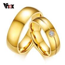 Обручальное кольцо vnox золотого цвета 6 мм из нержавеющей стали