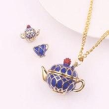 2019 nova quente azul bule colar conjunto pode abrir pote de chá copo colar elegante bule colar charme jóias criativas presente feminino