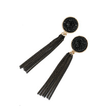 Classic Color Round Black Sequin Earrings for Women Big Ladies Boho Vintage