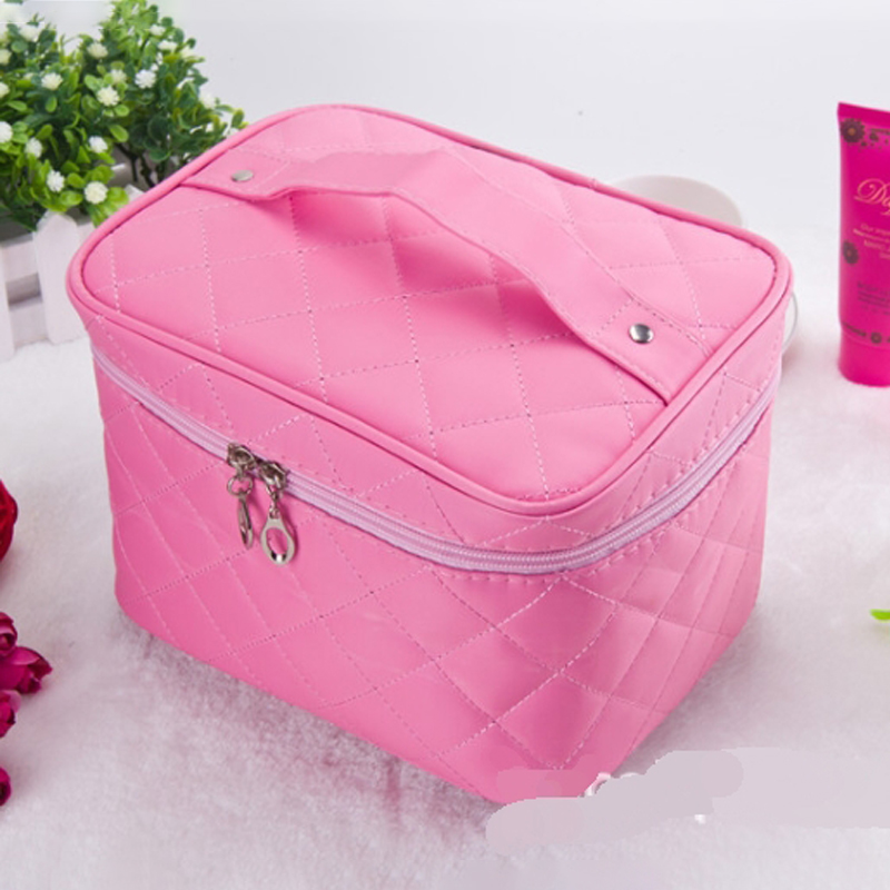 Cosmetic box new  Quilted professional cosmetic bag women's large capacity storage handbag travel toiletry makeup bag sac