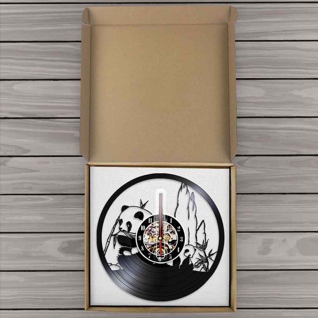 Panda Vinyl Record Wall Clock Wild Panda Bear Eating Bamboo Clocks Housewarming Gift for Baby Teens Kids Room Art Decor