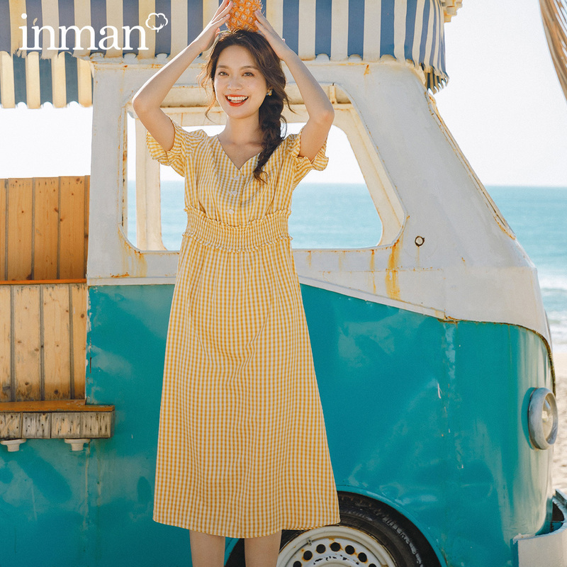 INMAN 2020 Summer New Arriavl V-neck Petal Sleeve French Style Nipped Waist Dress