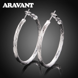 925 Sterling Silver 40MM Big Hoop Earring For Women Fashion Jewelry Accessories Gift