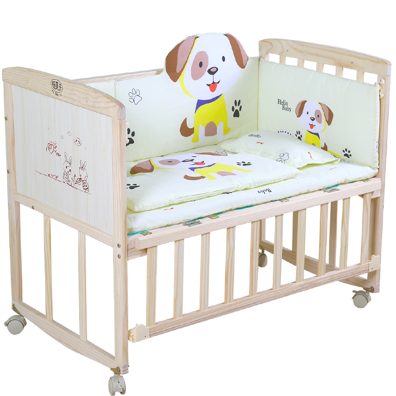 Bed Solid Wood Paint-free Environmentally Friendly Baby Bed Children Bed Newborn Stitching Bed Baby Cradle Bed