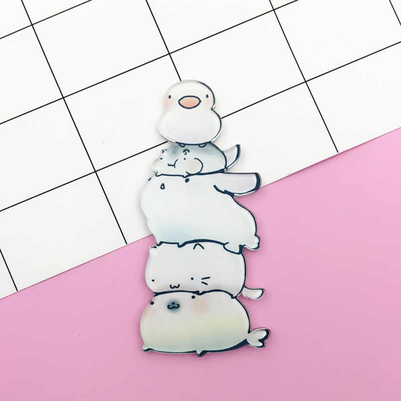 Kartun Jerapah Kelinci Kucing Anjing Pin Bros Akrilik Hewan Lencana Wanita Pria Jepang Harajuku Bros Perhiasan Aksesoris Ransel