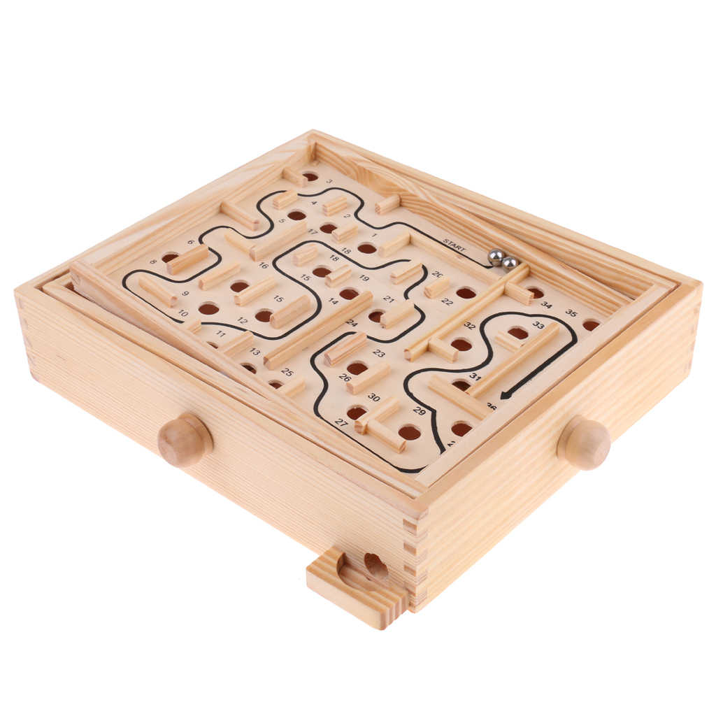PGY Wooden Maze Game with Two Steel Marbles Boys and Girls Puzzle Game for Adults