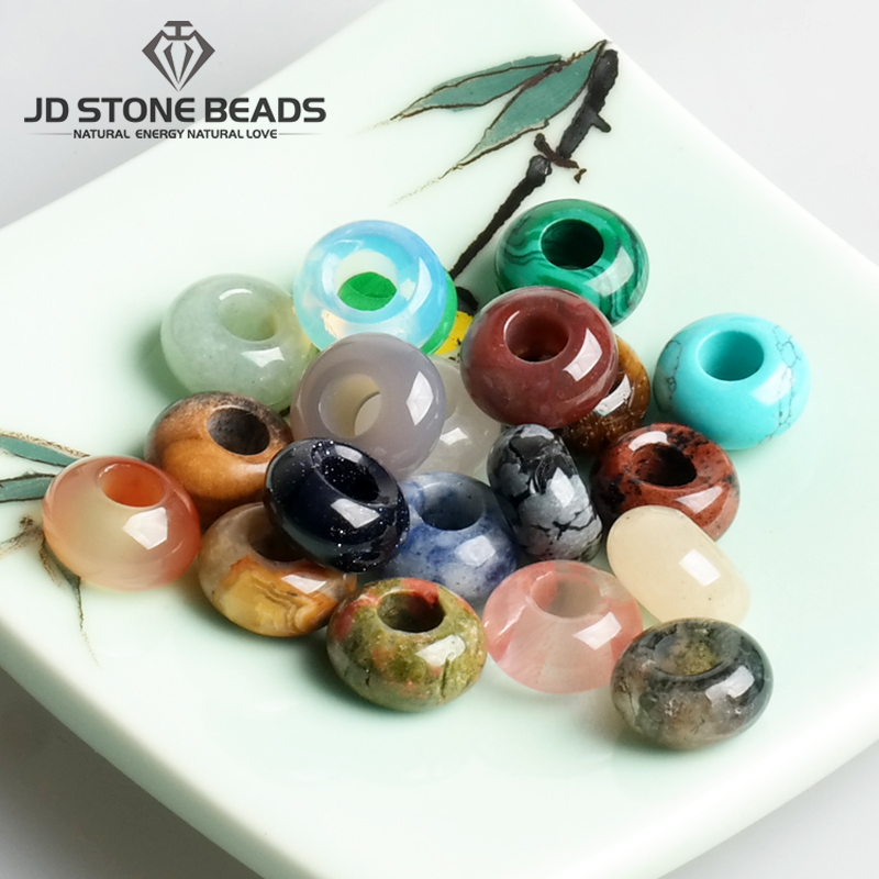 10pcs/Lot Wholesale Gemstone Natural Agate Jade Quartz Stone Big Hole Beads for Jewelry Making DIY Accessories(China)