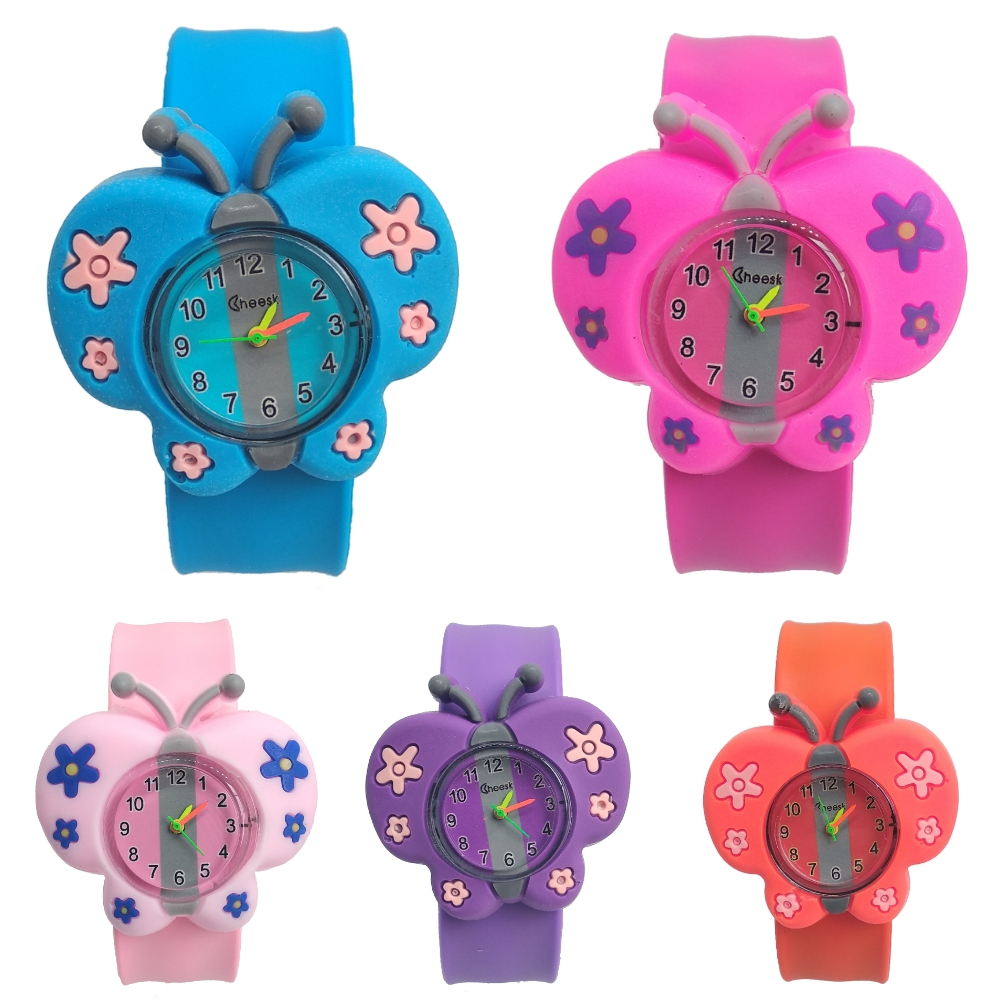 High Quality Hot Selling Butterfly Watch Children Boy Girl Students Clock Silicone Patted Child Watches Kids Baby Christmas Gift