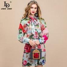 LD LINDA DELLA Summer Runway abito elegante camicia donna manica lunga elegante fusciacca perline abito in Chiffon Vintage con stampa floreale