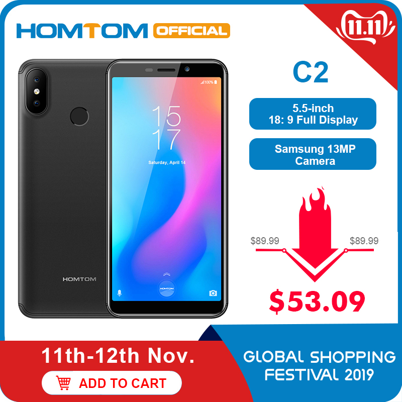 Global Version HOMTOM C2 Android 8.1 2GB+16GB Mobile Phone Face ID MTK6739 Quad Core 13MP Dual Camera OTA 4G FDD-LTE Smartphone