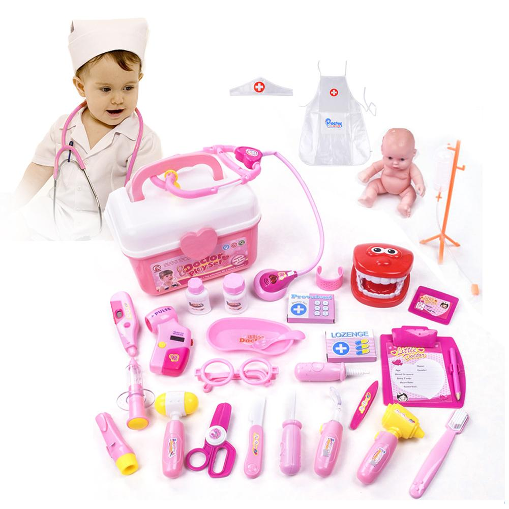 28pcs Children Play House Puzzle Simulation Medicine Box Doctor Toy Set Girl Medical Tool Role Play Doll Doctor Clothes image