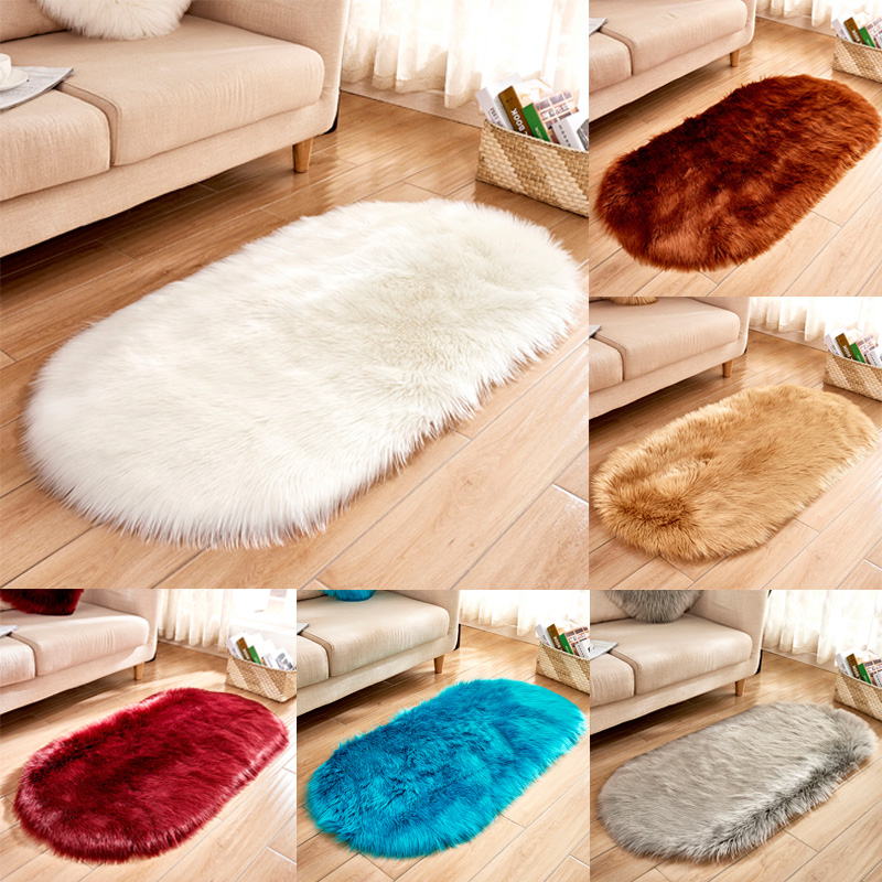 Soft Faux Fur Area Rug Carpets Living Room Long Plush Oval Carpet Artificial Wool Sheepskin Shaggy Rugs Floor Mat For Bedroom