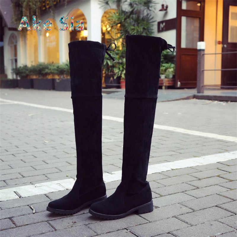 2019 ฤดูใบไม้ผลิ/ฤดูใบไม้ร่วงฤดูใบไม้ร่วงฤดูใบไม้ร่วง Over-the-เข่า Lace-Up Over เข่ารองเท้าบูทรอบ Toe เพิ่ม suede รองเท้าสตรี A01
