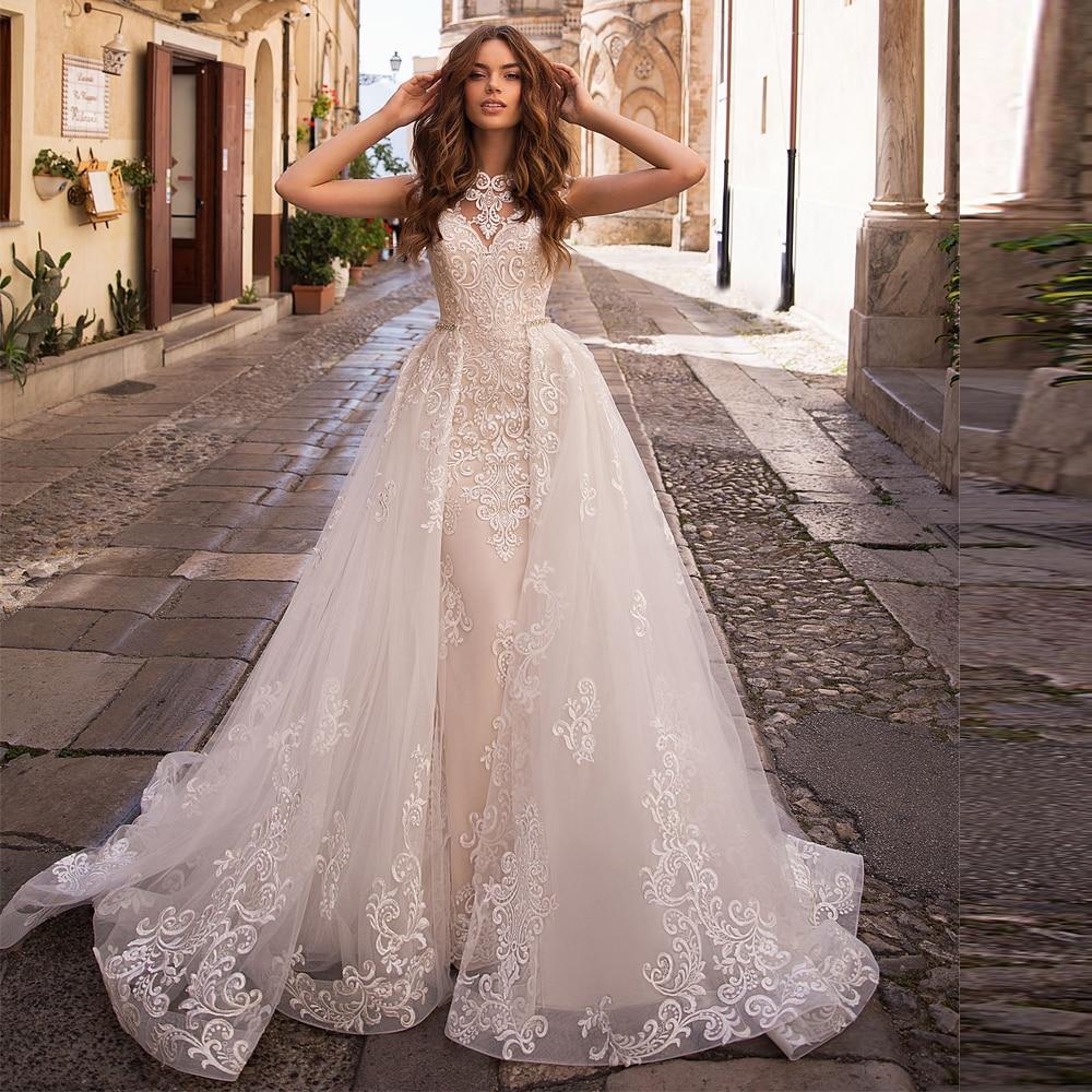 Dubai Luxury Mermaid Wedding Dresses Detachable Skirt 2020 Applique Tulle Wedding Gown Button Back Bridal Dress Wedding Mariage