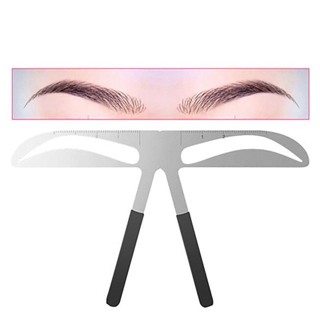 DIY Eyebrow Ruler Makeup Shaping Position Measure Tools Metal Tattoo Shaping Stencil Permanent Makeup Caliper Eyebrow Ruler