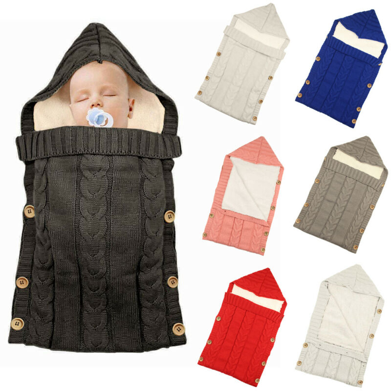 Winter Warm Newborn Baby Swaddle Wrap Knitted Crochet Blanket Sleeping Bag Toddler Baby Fleece Thicken Hooded Stroller Wrap